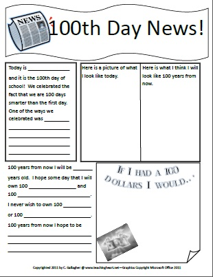 math worksheet : 100 days of school  lesson links ideas printables : 100th Day Worksheets Kindergarten