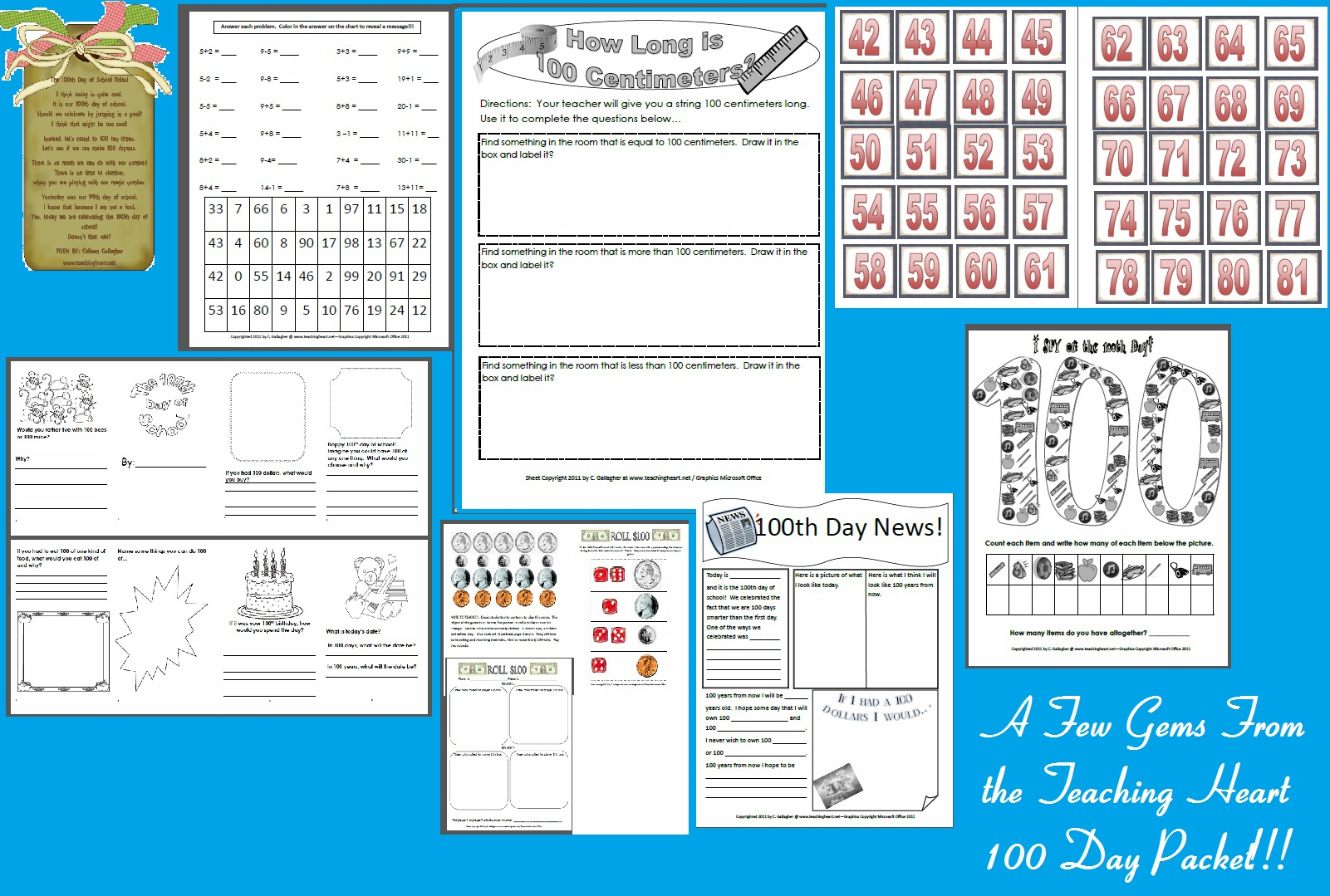 100 Days of School Lesson links ideas printables – 100th Day Math Worksheets