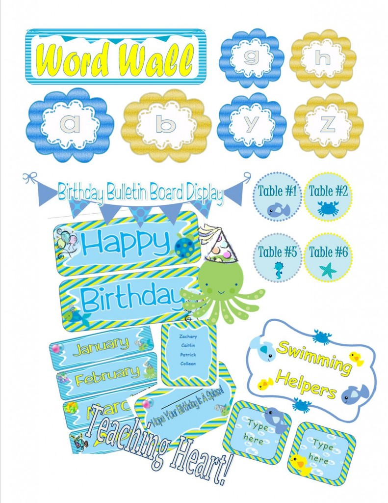Classroom Decoration Word Worksheet ~ Ocean themed classroom decorations and forms teaching